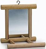 Зеркало с жердочкой, 10x10x10,5 см (дерево)