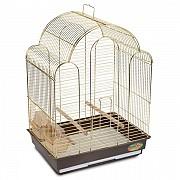 """Клетка для средних птиц """"Triol"""" с фигурной крышей (золото), 42x30x56"""